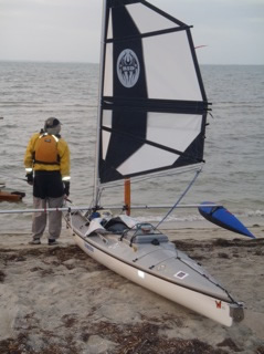 Bill Whale with 38 Batwing Expeditions sailing rig on his kayak