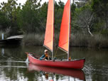 BSD Batwing Expedition schooner sail rig on canoe