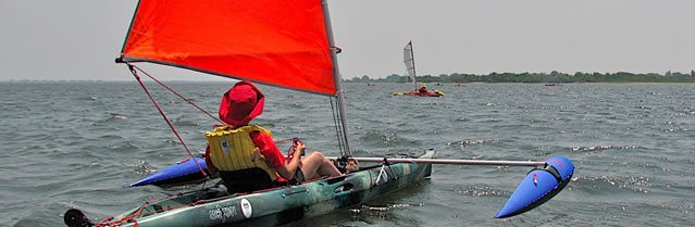 BSD Canoe sail and Boss outriggers